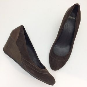 CAMPER Brown Suede Wedge Pumps